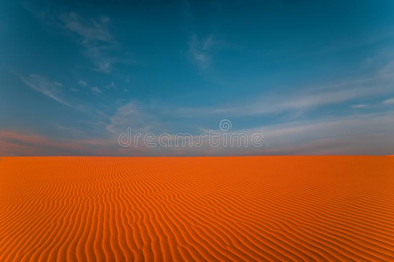 Stunning view of rippled sand dunes stock image