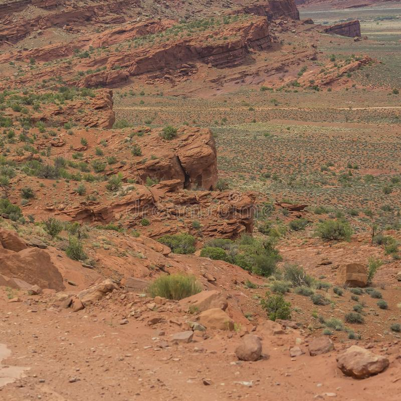 Stunning view of a rocky red cliff in Moab Utah royalty free stock photo