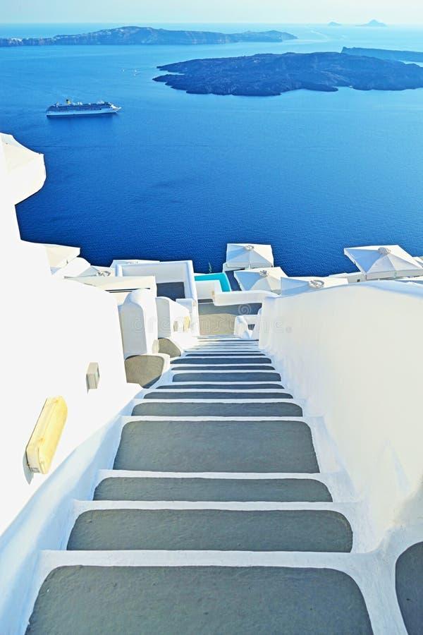 Down stairs Caldera unique Santorini island Greece stock photography