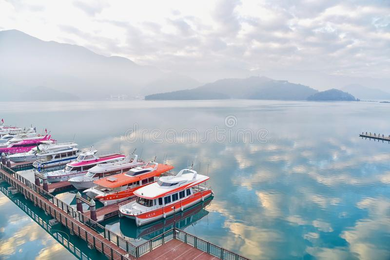 Stunning View of Sun Moon Lake During Sunrise royalty free stock photo