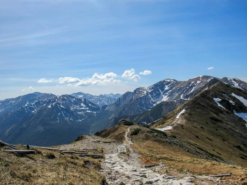 Stunning landscape of Tatra Mountains, part of the Carpathian mountain chain in eastern Europe, between Slovakia and Poland. Stunning view of Tatra Mountains royalty free stock photos