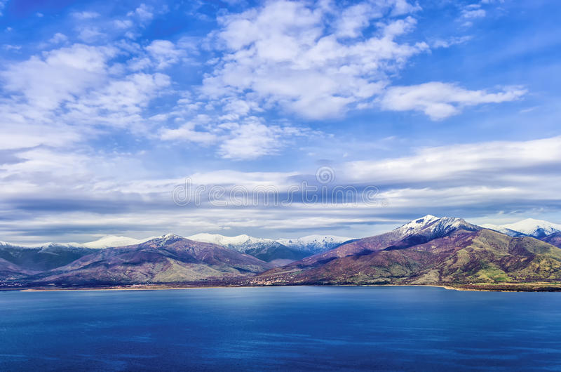 Stunning view to Prespes lakes and the surrounding scenery, Florina, Greece. Stunning view to Prespes lakes and the surrounding scenery, Greece stock photos