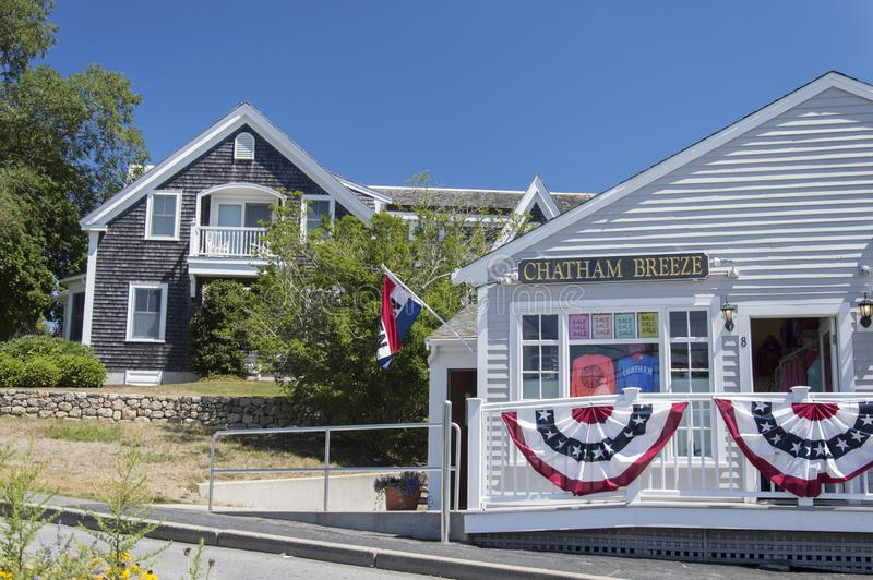 Chatham, Cape Cod massachusetts USA. The stunning village of Chatham, along the street for Cape Cod during a sunny day. Wooden house and colorful shops are stock images