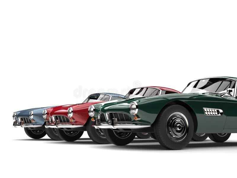 Stunning Vintage Sports Cars - Closeup Cut Shot Stock Illustration ...