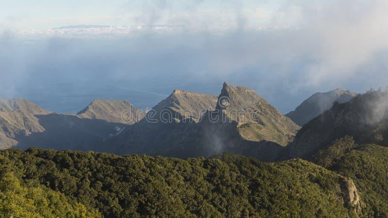 Stunning vistas from Pico del Ingles viewpoint, over Anaga mountains, and the coastal capital city Santa Cruz de Tenerife stock images