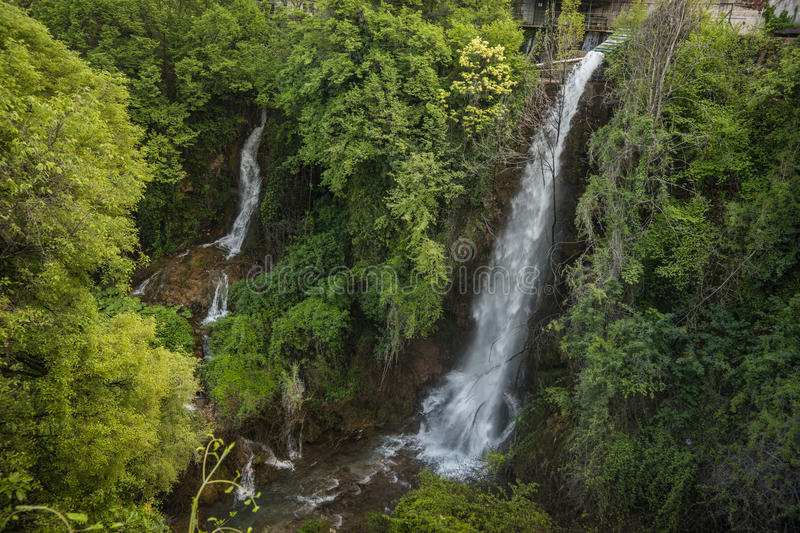 Stunning waterfalls in Naoussa, Northern Greece royalty free stock photos