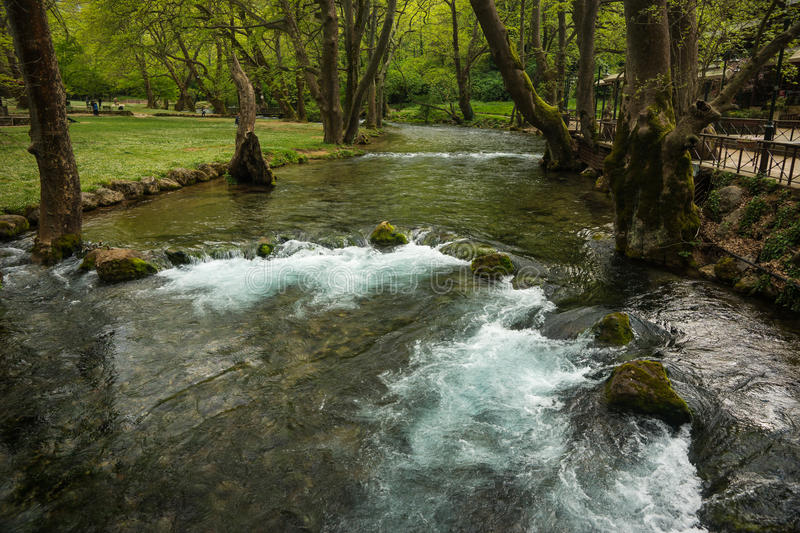 Stunning waterfalls in Naoussa, Northern Greece royalty free stock images