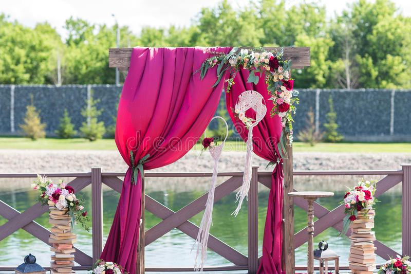 Stunning wedding decor. Stunning wedding red decor at a stylish wedding royalty free stock photography