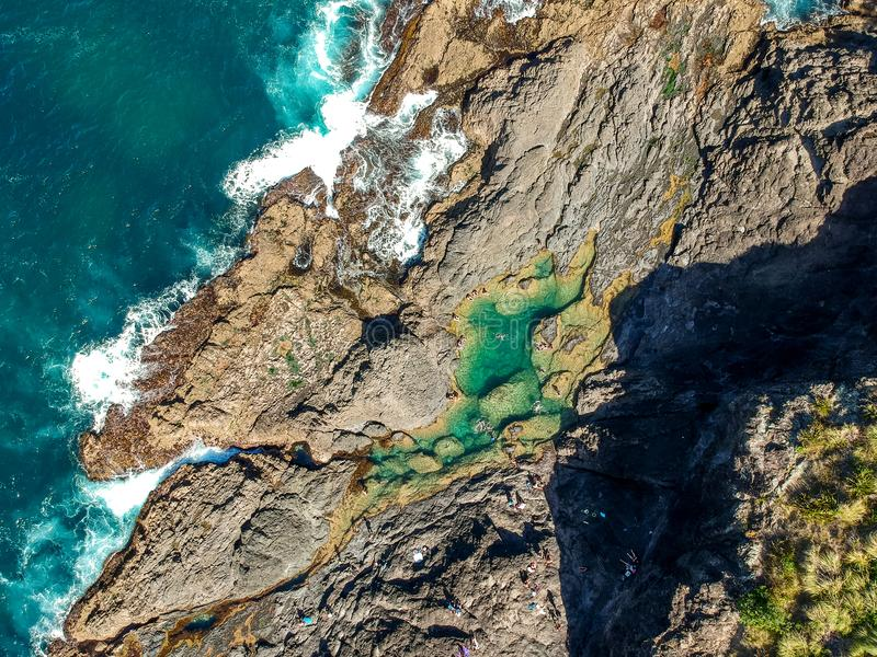 Stunning wide angle aerial drone view of the Mermaid Rock Pools and ocean waves at Matapouri Bay near Whangarei on the North Islan stock photos