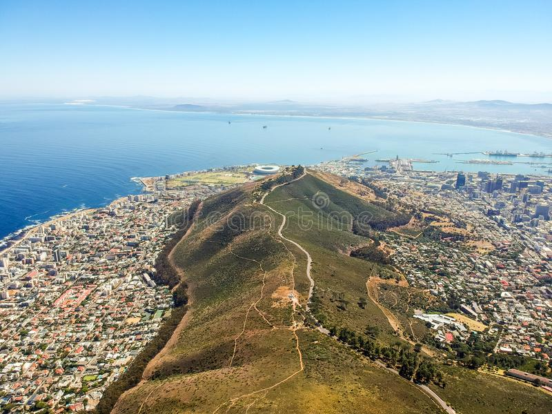 Stunning wide angle aerial drone view of Signal Hill and the suburbs of Mouille Point and Green Point stock images