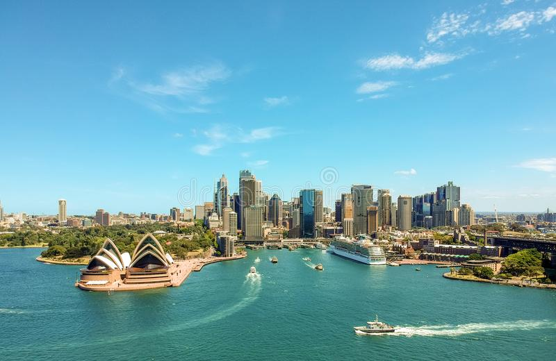 Stunning wide angle aerial drone view of the Sydney Harbour with the Opera House stock image