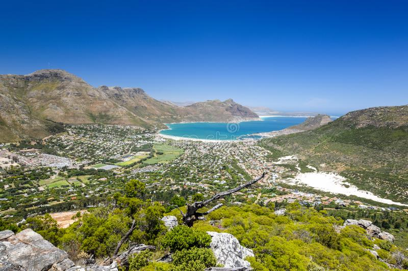 Stunning wide angle panoramic view of Hout Bay near Cape Town, South Africa stock image