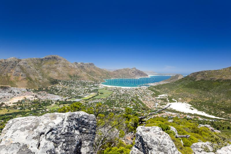 Stunning wide angle panoramic view of Hout Bay near Cape Town, South Africa stock photo
