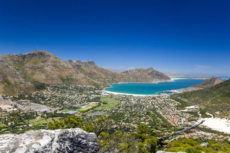 Stunning wide angle panoramic view of Hout Bay near Cape Town, South Africa stock photos