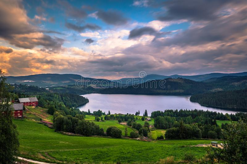 Stunning wild valley landscape in the Oppland county of Norway royalty free stock photos
