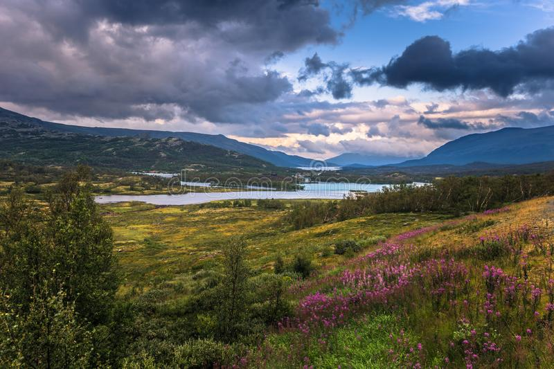 Stunning wild valley landscape in the Oppland county of Norway stock photo