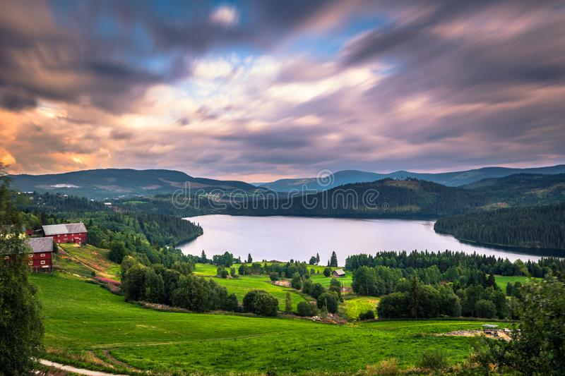 Stunning wild valley landscape in the Oppland county of Norway stock photography