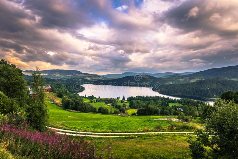 Stunning wild valley landscape in the Oppland county of Norway stock image
