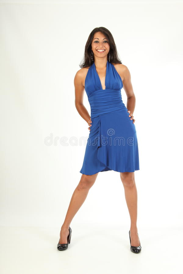 Stunning Young Girl Big Smile Wearing A Blue Dress Stock Images
