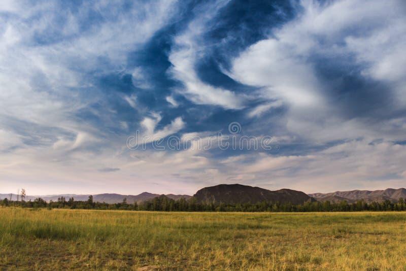 Stunningly härliga modeller av vita moln på en djupblå himmel arkivbilder