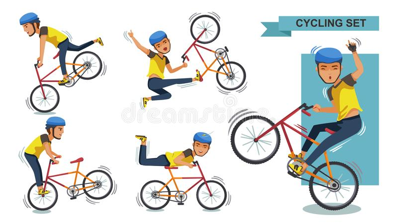 Stunt bike. Cycling man set. Stunt bike cartoon characters of male. exercise, motion, Healthy and Challenging Teens Concept. Vector illustration. isolated on stock illustration