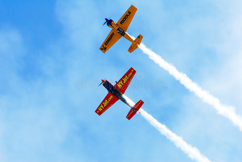 Stunt planes perform at Quonset Airshow. Two Stunt planes go through their routine at the Quonset Airshow, North Kingstown, RI stock photo