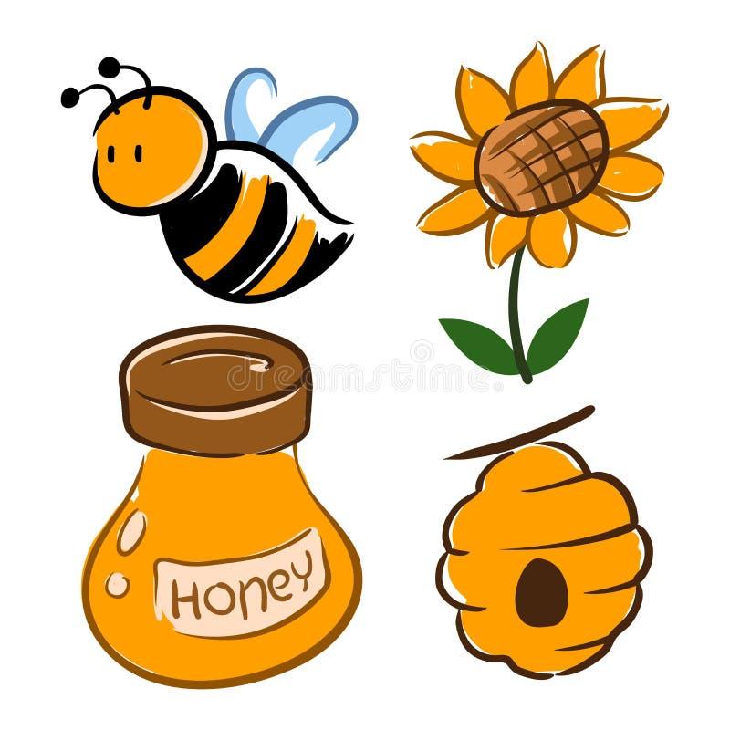 Stuntel Bij en Honey Related Symbol vector illustratie