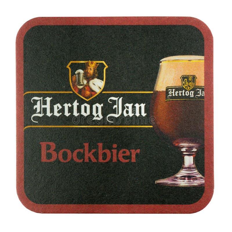 Stuoia della birra di Hertog gennaio Isolato su priorità bassa bianca immagine stock libera da diritti