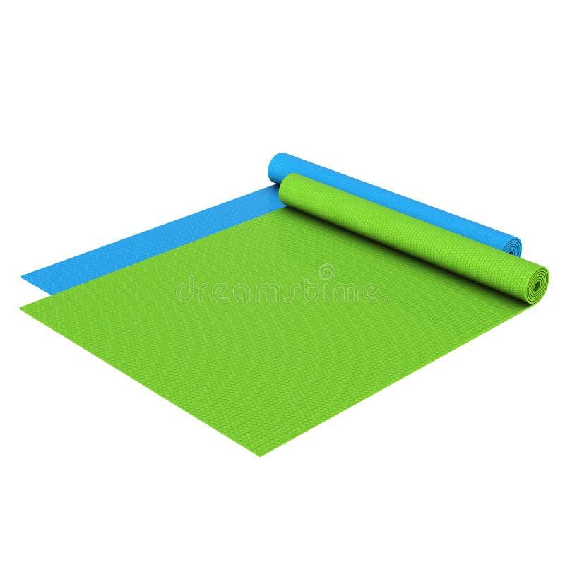 Stuoie dei pilates di yoga rotolate metà illustrazione vettoriale