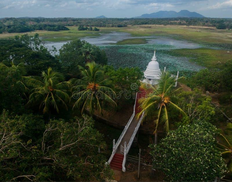 Stupa和寺庙有湖的在斯里兰卡 库存图片