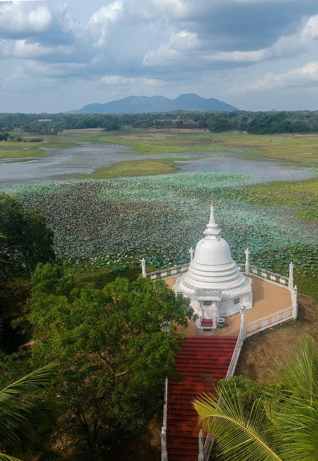 Stupa和寺庙有湖的在斯里兰卡 免版税库存图片