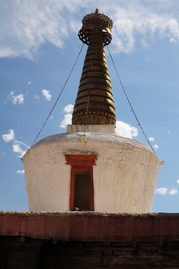 Stupa在Shey宫殿, Leh,拉达克,印度 图库摄影