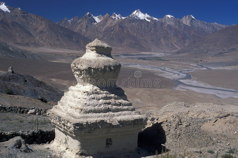 Stupa. Chorten at stongde monastery, Zanskar valley, Ladakh royalty free stock images