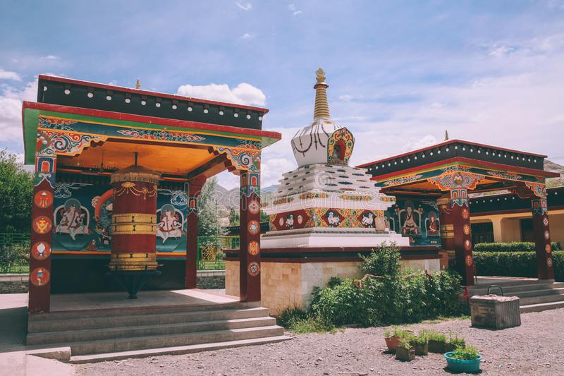 stupa and ancient religious buildings in Leh city, stock image