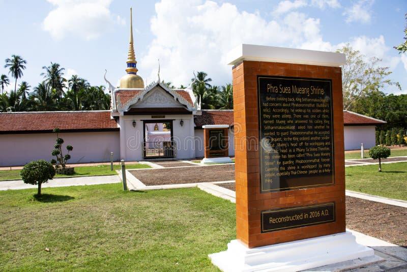 Stupa av den Wat phraen som sawitempel f?r f?r loppbes?k f?r thai folk chedi f?r respekt be och buddha statyer i Chumphon, Thaila arkivfoton