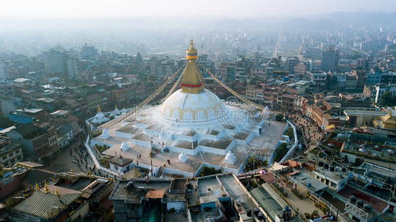 Stupa Bodhnath Katmandu, Nepal - 26 de octubre de 2017 imagen de archivo libre de regalías