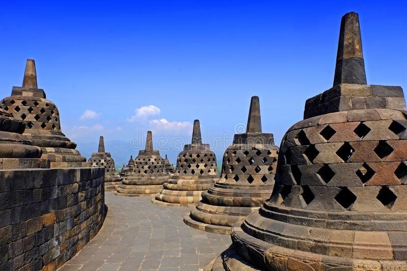 Stupa of borobudur tample. Borobudur tample is Built in the 9th century during the reign of the Sailendra Dynasty, the temple design follows Javanese Buddhist stock image