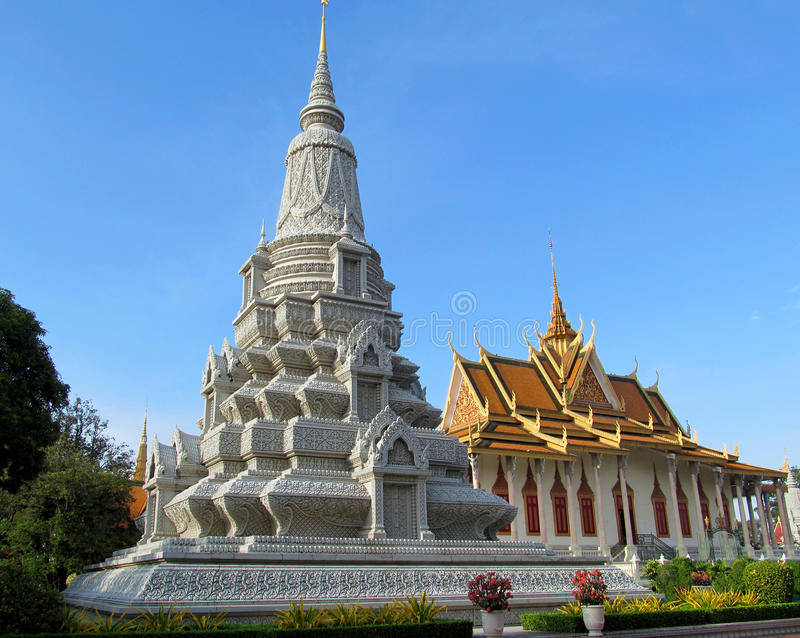 Stupa in a Buddhist Temple in Cambodia. ContainingBuddhistrelics. Palace in Phnom Penh, Wat Phnom. Sunny day with clear blue sky stock photos