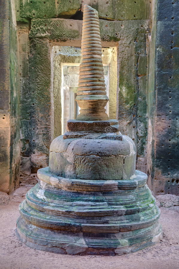 Stupa in the center of Preah Khan temple stock images