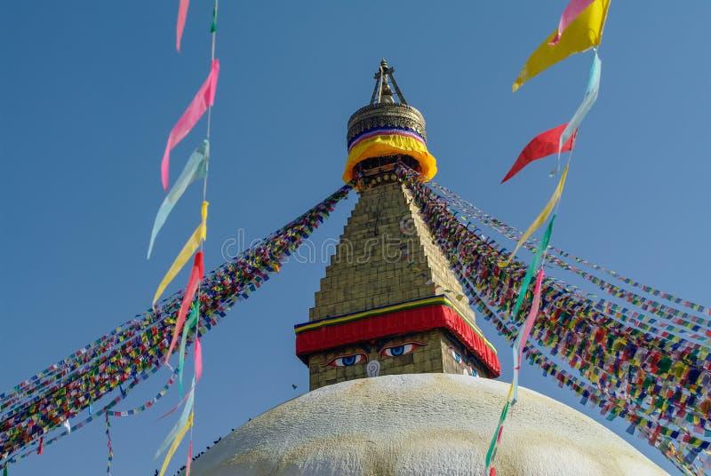 Stupa dans le temple de Boudhanath Stupa (Bodnath Stupa) à Katmandou, Népal photos libres de droits