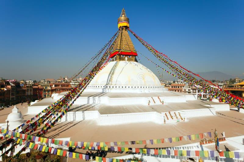 Stupa de Boudhanath, cidade de Kathmandu, buddhism em Nepal imagem de stock royalty free