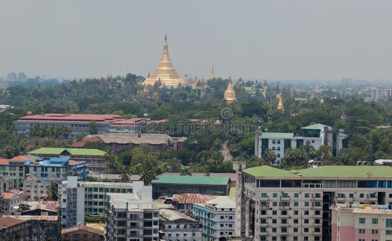 Stupa di paya di Shwedagon (pagoda). Rangoon. Myanmar. fotografia stock libera da diritti