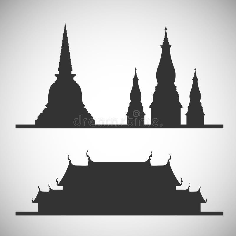 Stupa e siluetta del tempio fotografie stock