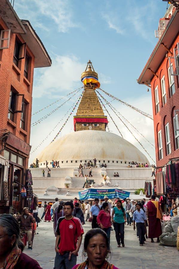 Stupa en Bodnath foto de archivo