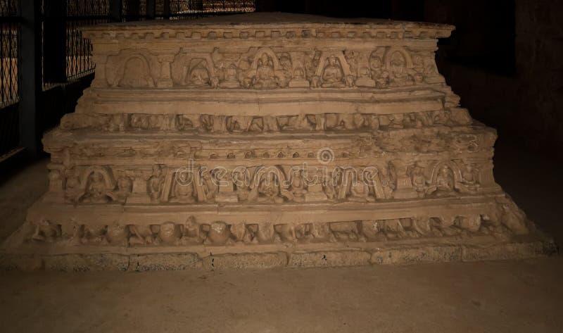 Stupa en Jaulian arruin? el monasterio budista, Haripur, Paquist?n Un sitio del patrimonio mundial de la UNESCO imagen de archivo libre de regalías