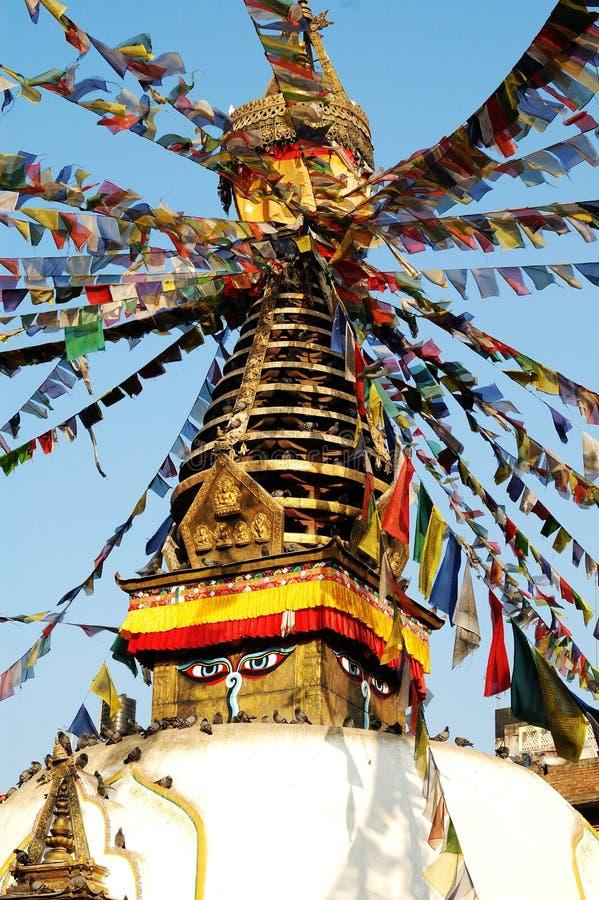 Stupa and eyes royalty free stock photo