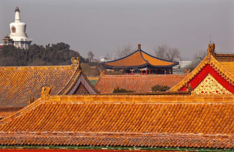stupa för beihaibeijing blå stad förbjuden paviljong royaltyfri fotografi