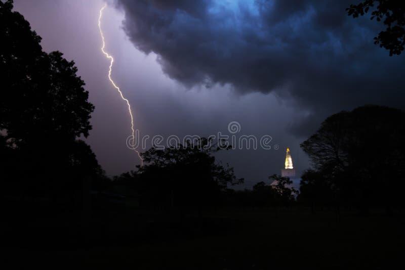 The stupa and the lightening, Anuradhapura, Sri Lanka. Lightening at night over Ruwanwelisaya stock image