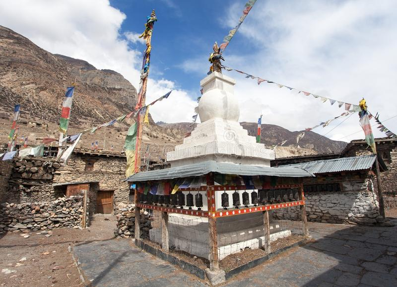 Stupa in Manang villlage. Round Annapurna circuit trekking trail, Nepal stock photography
