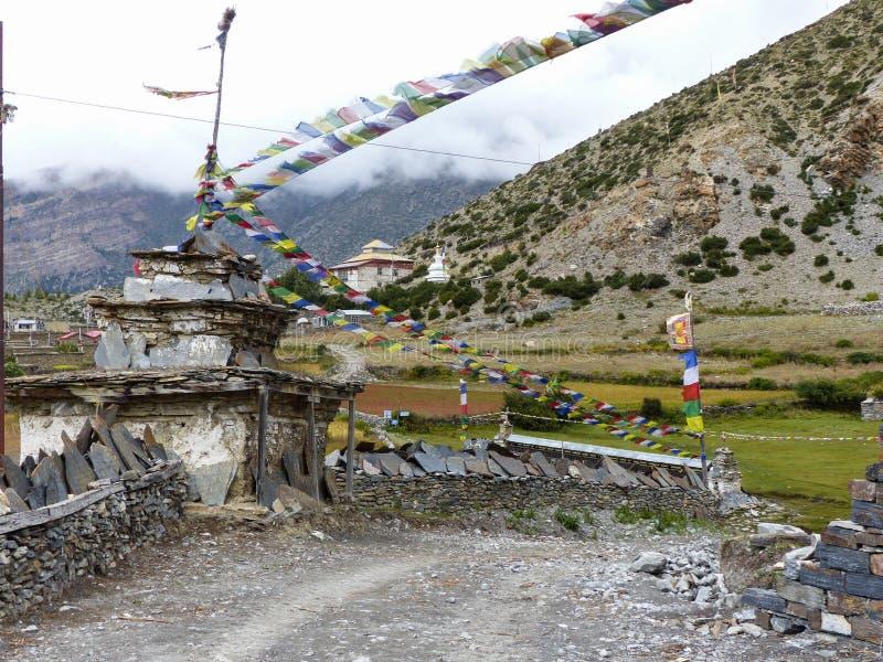 Stupa and Mani Wall stock photos